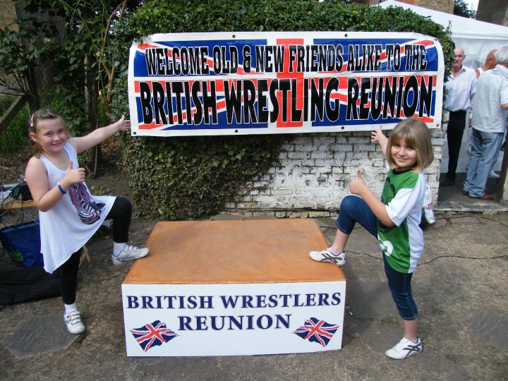 The Sparkes girls and banner